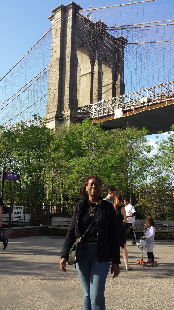 At the foot of the Brooklyn Bridge